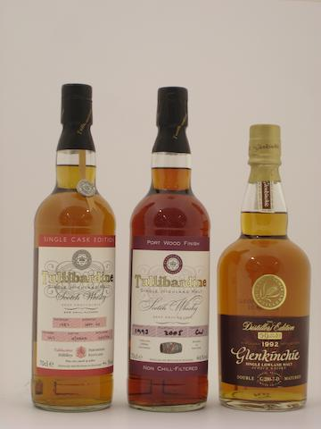 Tullibardine-1987<BR /> Tullibardine Port Wood finish-1993<BR /> Glenkinchie-1992