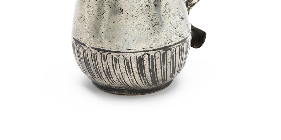 An extremely rare tulip-shaped gadrooned mug of ale pint capacity, circa 1710