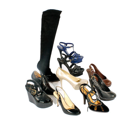 Ten pairs of Yves Saint Laurent shoes and boots