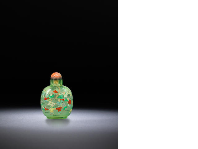 An inside-painted glass 'hundred boys' snuff bottle  Ye Family, dated 1926