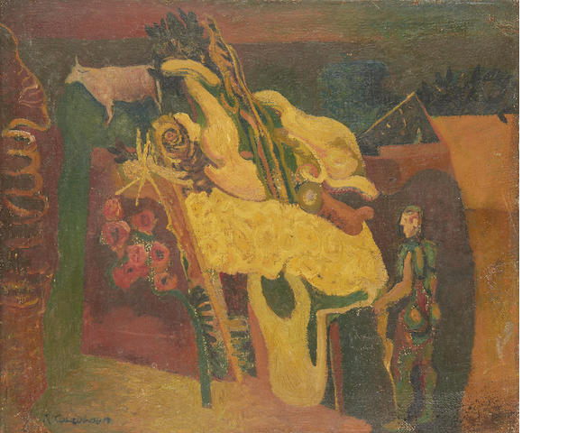 Robert Colquhoun (British, 1914-1962) Composition with man with cow unframed