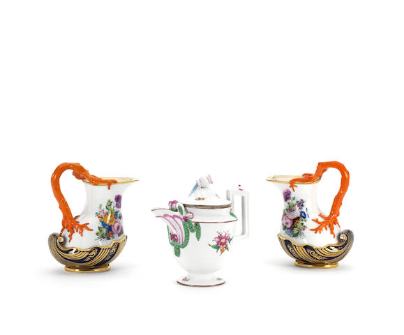 A pair of porcelain pitchers Popov Manufactory, Moscow, circa 1840