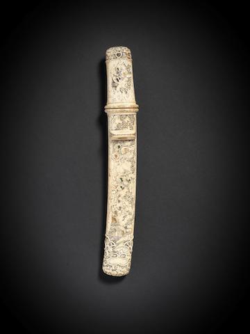 An ivory-mounted aikuchi tanto Meiji Period