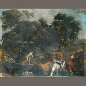English School, late 18th Century Travellers crossing a river before an open landscape unframed
