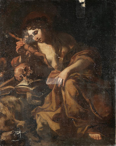 Neapolitan School, 17th Century The Penitent Magdalen unframed