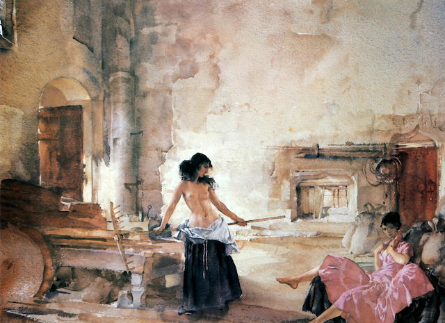 Sir William Russell Flint R.A., P.R.W.S. (British, 1880-1969) 'In a Burgundian Granary'