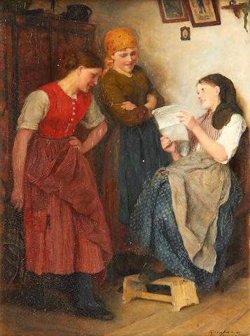 Theodor Schmidt (German, 1855-1937) Eine Postsendung