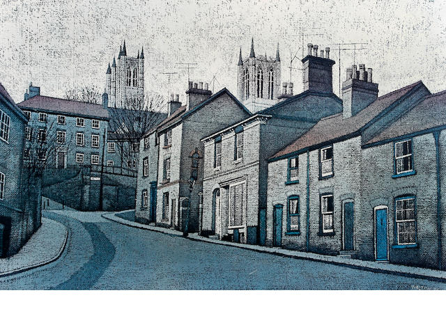 Stuart Walton (British, born Leeds 1934) 'Cathedral from Steep Hill, Lincoln'