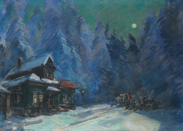 Konstantin Alexeevich Korovin (Russian, 1861-1939) Winter by moonlight