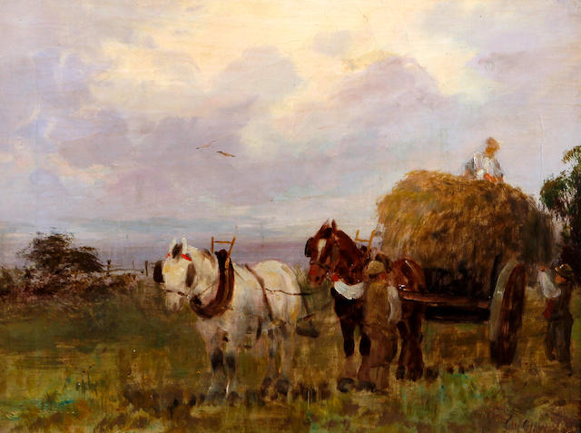 Charles W. Oswald (British, 19th Century) The Plough Team and Loading a Haycart, a pair