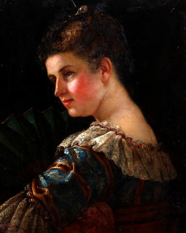 Circle of John Philip (British, 1824-1875) 'Miss Seymour', portrait of a lady holding a fan