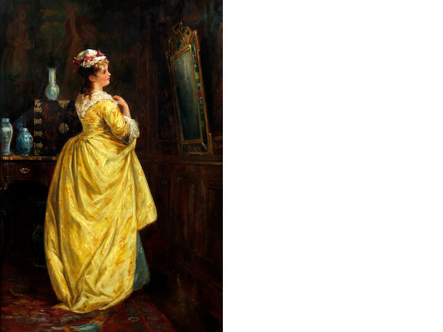 Circle of Abraham Solomon (British, 1824-1862) Elegant young lady by a mirror