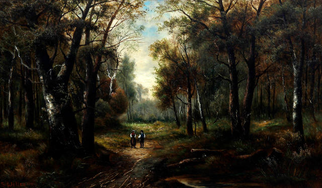 S. William (British), (early 20th century) Wooded landscape with figures on a pathway, together with another, wooded landscape in winter with figure carrying firewood, a pair
