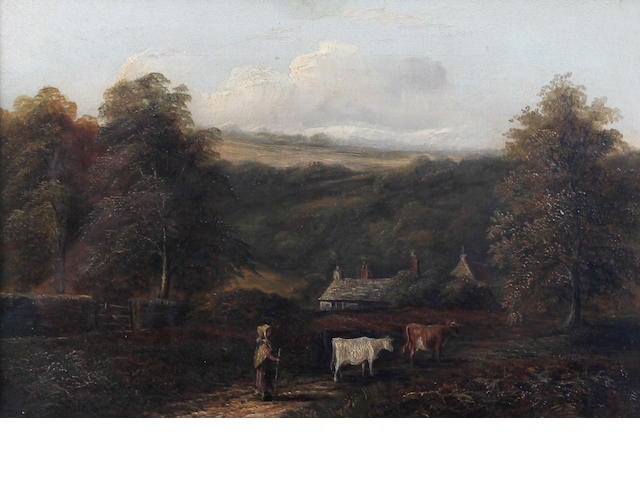 Circle of Joseph Mellor (British, active 1850-1855) Country landscape with maid and cows on a path by cottages