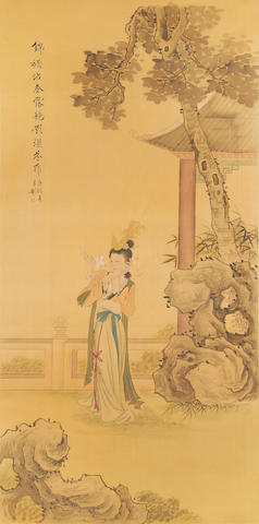 A pair of framed Chinese paintings on silk, depicting standing figures in a landscape