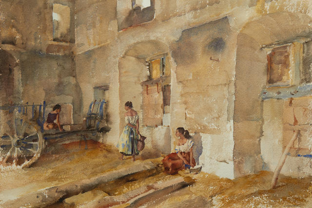 William Russell Flint (Scottish, 1880-1969) Interior at Autichamp (Drôme)