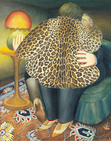 Beryl Cook (British, 1926-2008) Leopardskin Coat 75.3 x 61 cm. (29 3/4 x 24 in.)