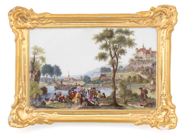 A pair of Meissen small plaques, circa 1760, painted with figures in river landscapes