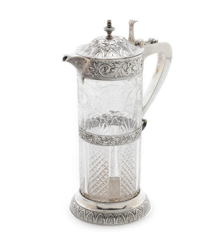 A Victorian silver and 'rock crystal' glass claret jug  by Mappin & Webb London, 1896