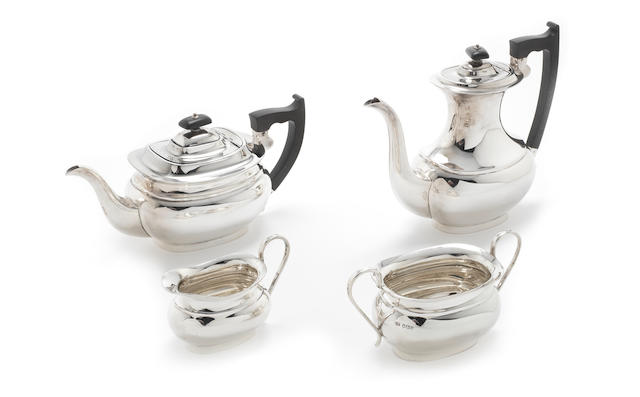 A  silver four-piece tea and coffee service by E Viner, Sheffield 1956 / 57  (4)