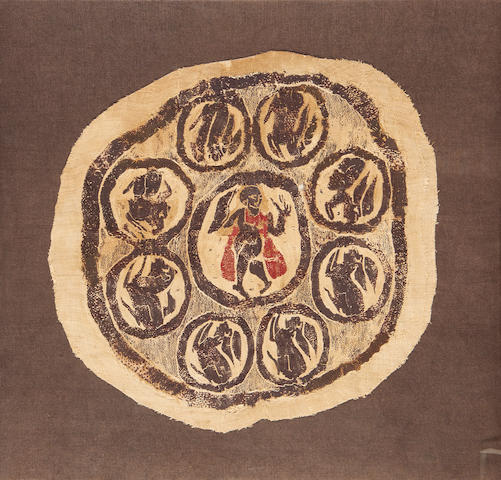 A coptic wool roundel with figure to centre surrounded by hares Egypt,  4th/5th Century