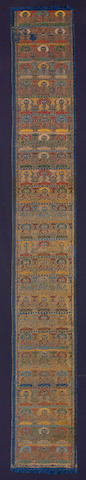 A Ming dynasty Buddhist woven brocade with twenty-five rows of Buddhas China, Circa 1600