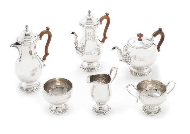 A six-piece  silver tea and coffee service by Thomas Ducrow & Sons, Birmingham 1945  (6)