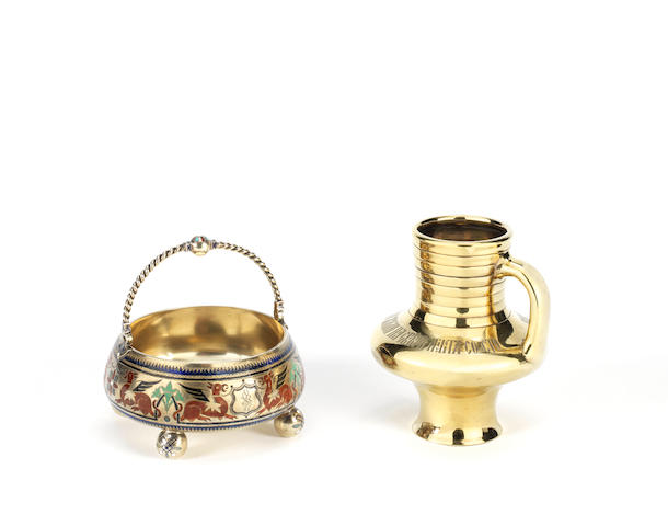 A silver-gilt kvass mugSazikov with Imperial Warrant, Moscow, 1857