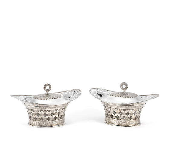 Two silver glass-lined covered dishes, Werben