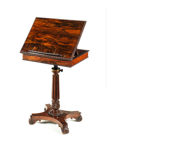 A Regency rosewood reading/music table