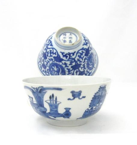 A blue and white bowl, and another Bearing Kangxi double ruyi head mark