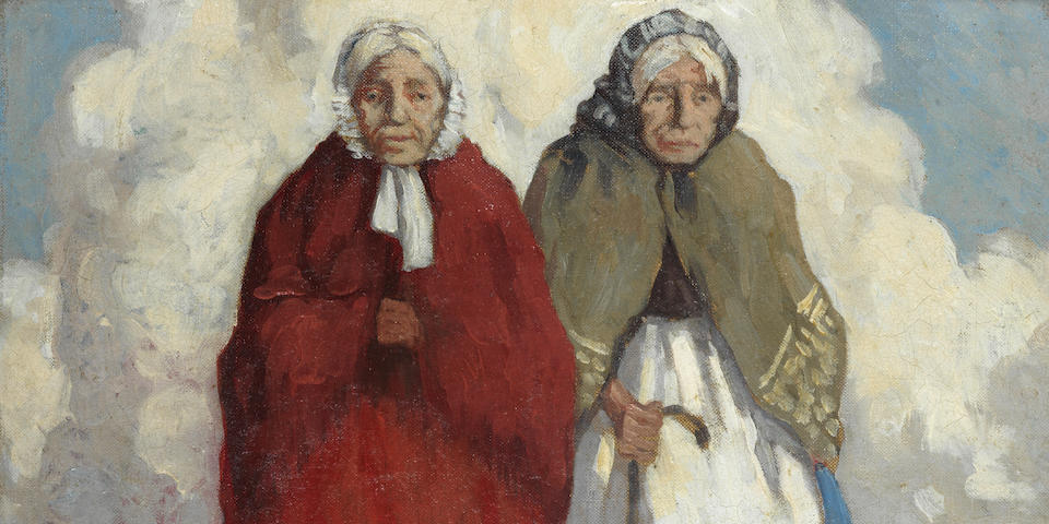 Paul Henry R.H.A. (Irish, 1876-1958) Old-Age Pensioners 35.6 x 40.6 cm. (14 x 16 in.)