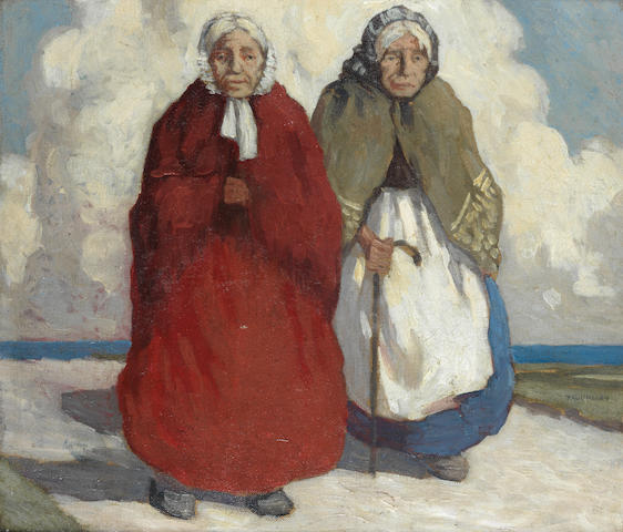 Paul Henry R.H.A. (Irish, 1876-1958) Old-Age Pensioners 35.5 x 40.5 cm. (14 x 16 in.)
