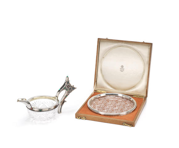 Faberge cut-glass round dish with silver mount ( in a box)
