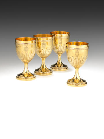 A set of four III silver-gilt goblets by Robert Sharp London 1792,  (4)