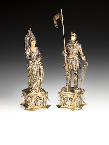 Two Continental silver-gilt decorative standing figures  (2)