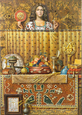 Theodoros Manolidis (Greek, born 1940) Girl and still life 100.5 x 70.5 cm.