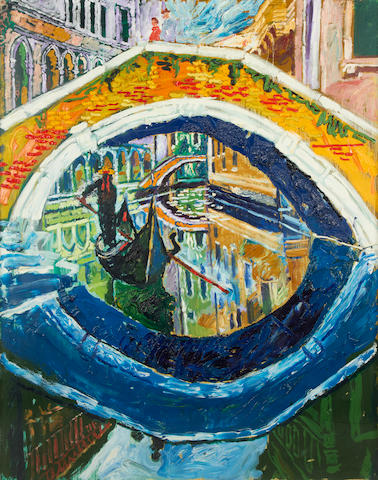 John Bratby R.A. (British, 1928-1992) Bridge over a canal, Venice