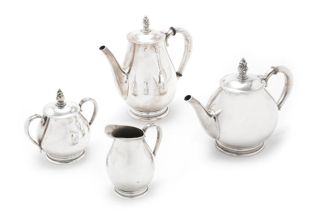 An American silver four-piece 'Royal Danish' tea and coffee service by International, incuse marks ROYAL DANISH USA, STERLING, pattern number C353  (4)