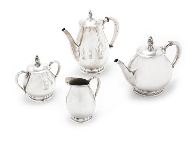 An American silver four-piece 'Royal Danish' tea service by International, incuse marks ROYAL DANISH USA, STERLING, pattern number C353  (4)
