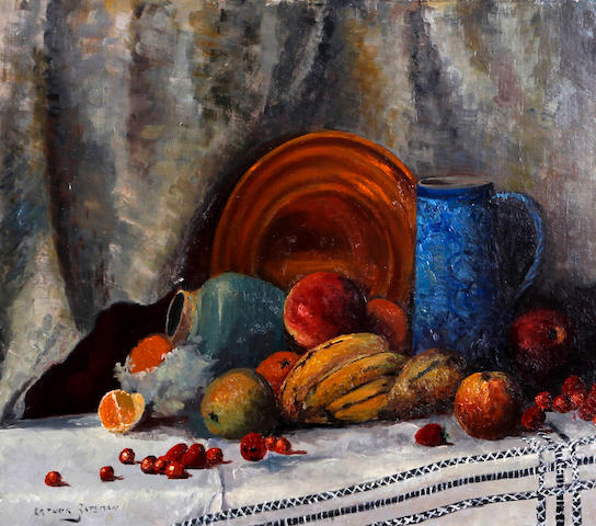 Arthur Bernard Bateman (British, 1883-1970) Still life of fruit and crockery on a table