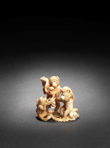 Three small ivory okimono One by Muneyuki, 19th century