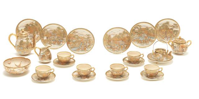 A Satsuma tea service By Kozan, Meiji Period