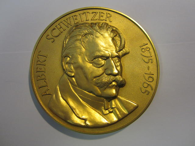 "Albert Schweitzer Memorial, Gold commemorative medal, 7.5cm (3""), 420.9g, 24 carat, by Toye, Kenning and Spencer, Ltd., bust of Albert Schweitzer right,"