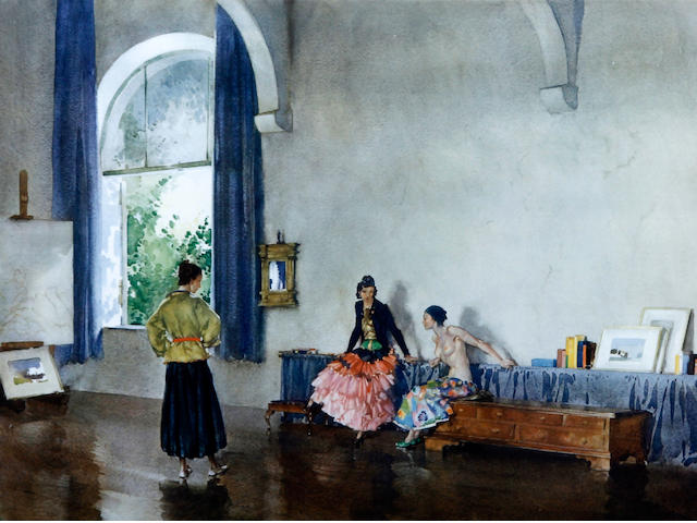 Sir William Russell Flint R.A., P.R.W.S. (British, 1880-1969) 'Conversation Piece'