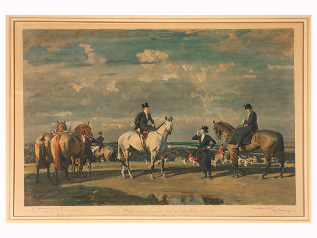 Sir A Munnings- Why weren't you out yesterday- signed and titled print