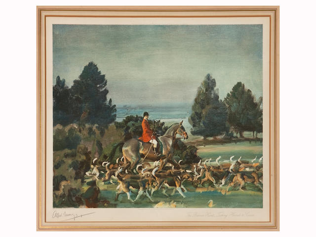 Sir A Munnings- The Belvoir Hunt signed in pencil
