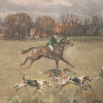 Lionel Edwards- Cambridge Hunt and Devon and Somerset Stag hounds- signed and titled
