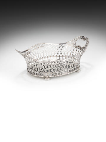 A late 18th century Dutch silver basket by Johannes Schiotling Amsterdam 1780,