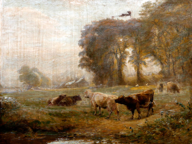 Alfred Fitzwalter Grace (British, 1844-1903) 'Landscape and Cows'